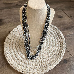 Multi-Strand Black White String Bead Necklace
